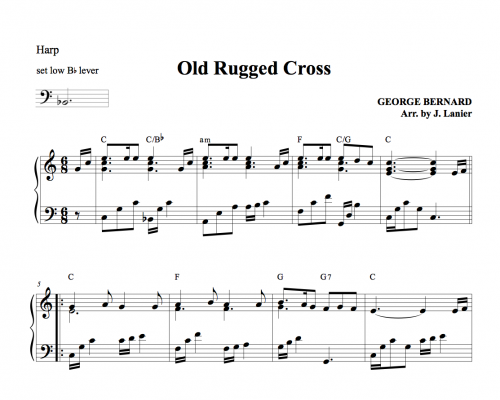 Old Rugged Cross for Harp (intermediate to advanced version) : Janet Lanier